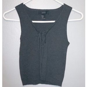 charcoal grey cropped sweater tank
